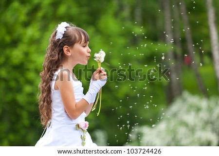 Little girl blows away dandelion in the park at summer - stock photo