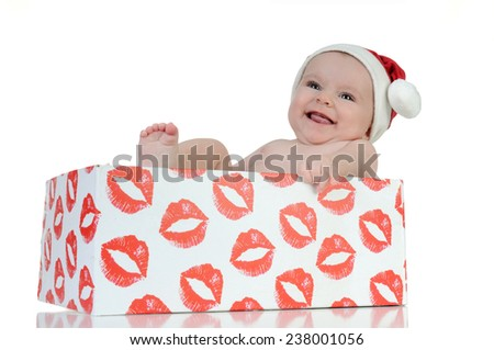 Little girl celebrating the day of Santa Claus - stock photo