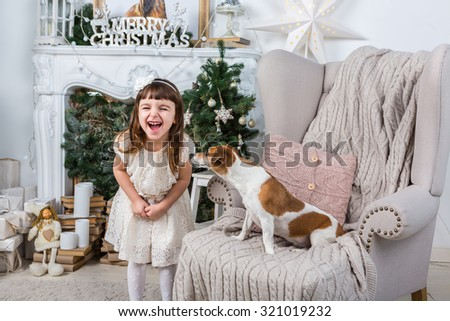 Little girl cheerfully laughs merrily, a dog sniffing curious child. Interior decoration Christmas holiday. Merry Christmas and Happy New Year. A series of photos - stock photo
