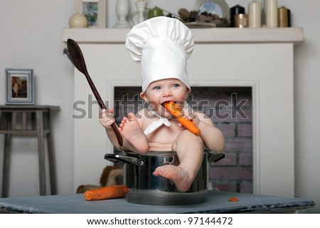 little girl chef - stock photo