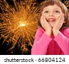 little girl - christmas night - stock photo