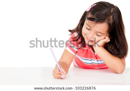 Little girl coloring - isolated over a white background - stock photo