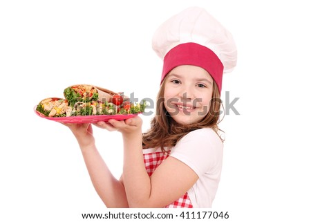 little girl cook with burritos - stock photo