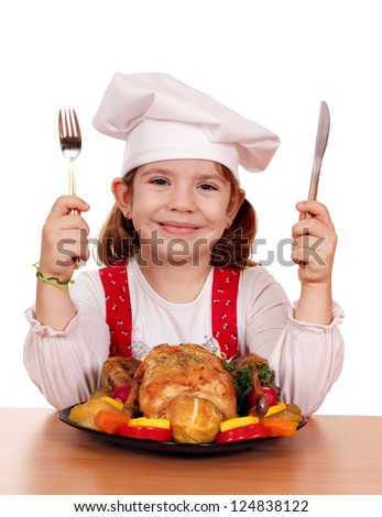 little girl cook with grilled chicken - stock photo