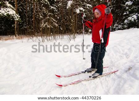Little Girl Cross Country Skiing - stock photo