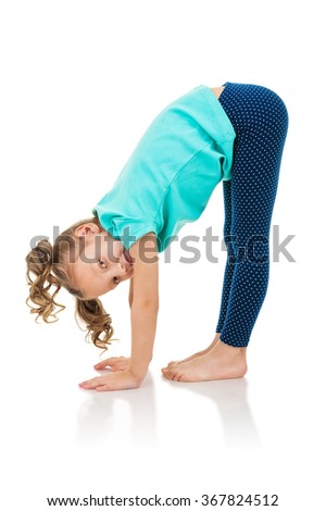 Little girl doing fitness exercises