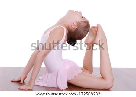 little girl doing gymnastic - stock photo