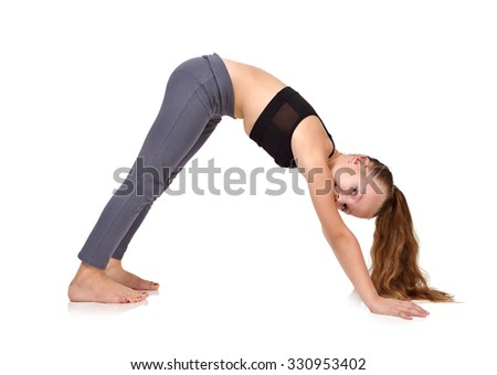 little girl doing yoga exercise isolated on white background