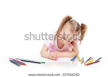 Little girl drawing pencil on paper