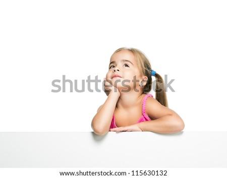 little girl dreams - stock photo