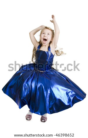 Little girl dressed as a pretty blue princess curtsy. - stock photo