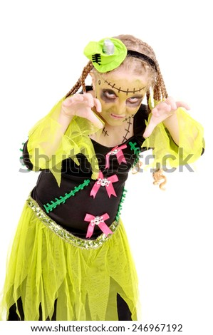 little girl dressed as frankenstein on halloween isolated - stock photo