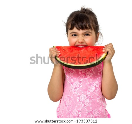 Little girl eating watermelon isolated on white - stock photo