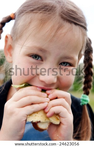 Little girl eats a sandwich on fresh air - stock photo