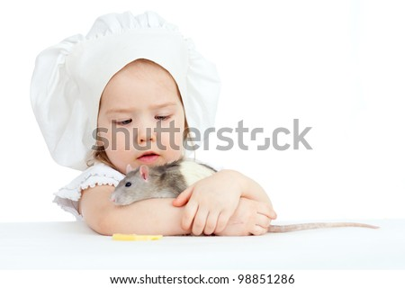 Little girl embracing domestic rat  on white background - stock photo