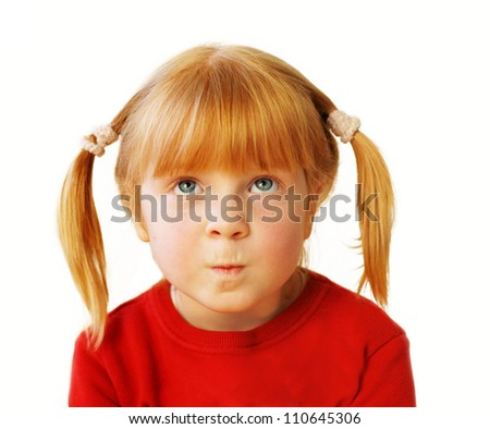 little girl, emotional portrait on white background - stock photo