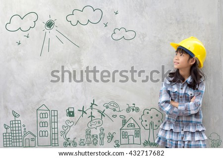 Little girl engineering with creative drawing environment with happy family, eco friendly, save energy, against a brick wall - stock photo