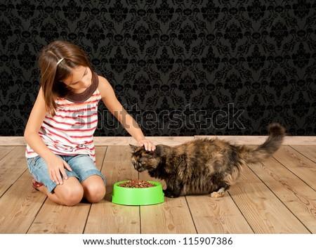 little girl feeding a cat - stock photo