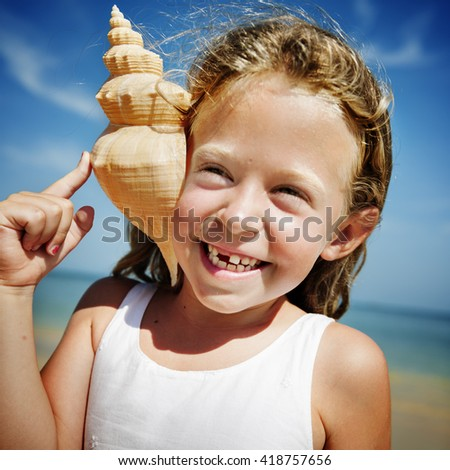 Little Girl Fun Beach Summer Cheerful Child Sun Concept - stock photo