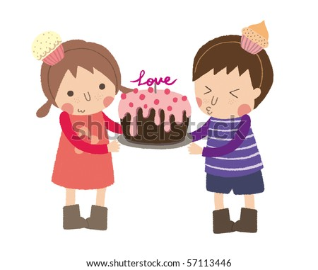 Little girl give little boy a cake for happy birthday. - stock photo
