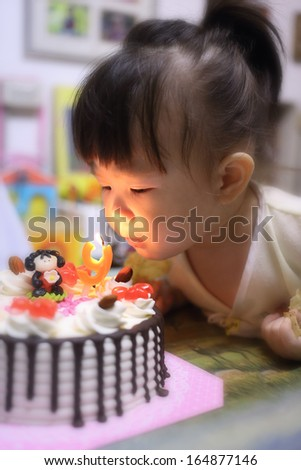 little girl happy birthday  - stock photo