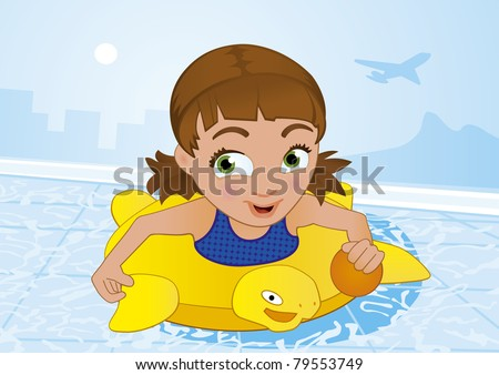 little girl having fun swimming in a pool at summer time - stock photo