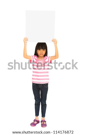 Little girl holding a board, Isolated on white with clipping path