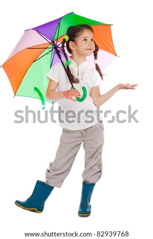 Little girl holding color umbrella,checking for rain, isolated on white