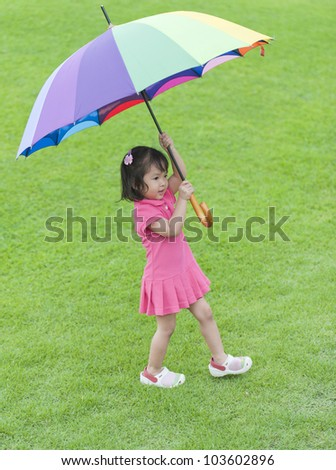 Little girl holding colorful umbrella - stock photo