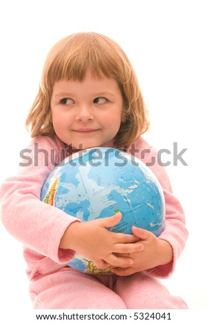 little girl holding globe isolated on white