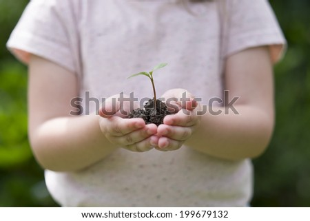 Little girl holding new sprout in her hands