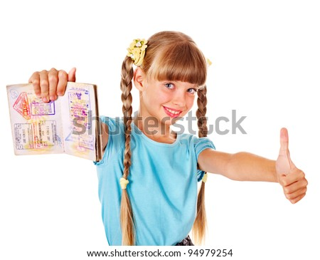 Little girl holding  passport. Foreign vacation. - stock photo