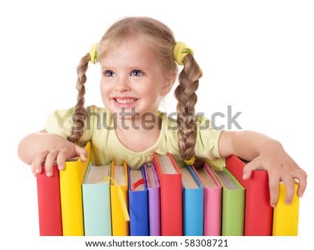 Little girl holding pile of books. Isolated. - stock photo