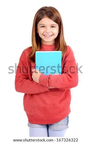 little girl holding school books isolated in white - stock photo