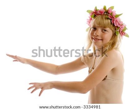Little girl hula dancing - stock photo
