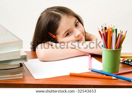 Little girl in a brown study - stock photo