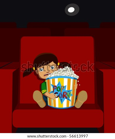Little girl in a cinema, watching scary movie.
