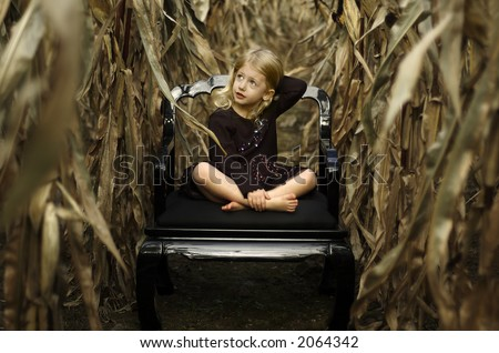 Little girl in a cornfield - stock photo
