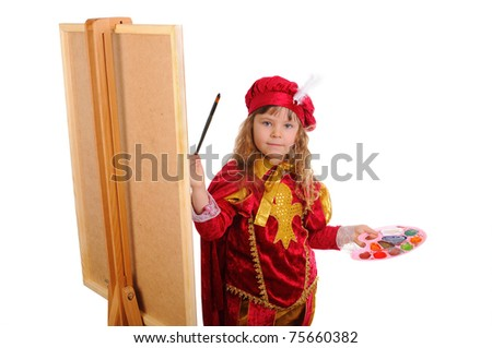 Little girl in a red historical suit with a brush and paints near an easel. Isolated on white - stock photo