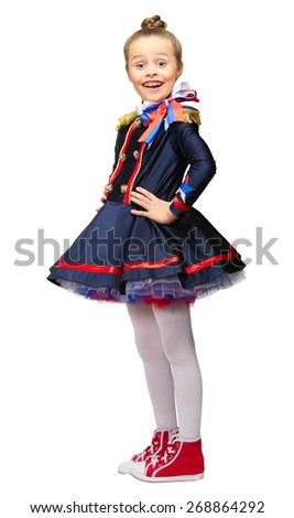 Little girl in beautiful dress isolated - stock photo