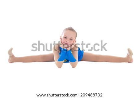little girl in blue doing gymnastics isolated on white background