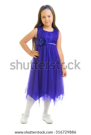 Little girl in blue dress isolated