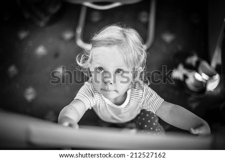 Little girl in cabin on a ferry to Sweden - stock photo