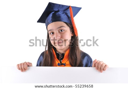 Little girl in cap and gown holding a blank signboard - stock photo