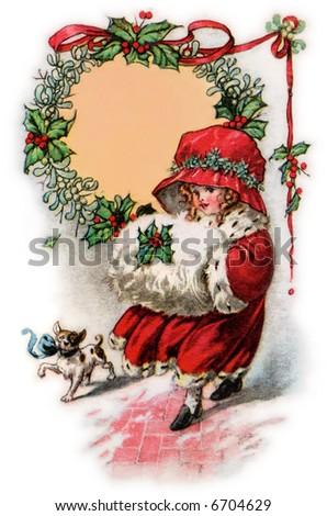 Little Girl in Christmas Bonnet & Muffler - a 1916 vintage illustration - stock photo