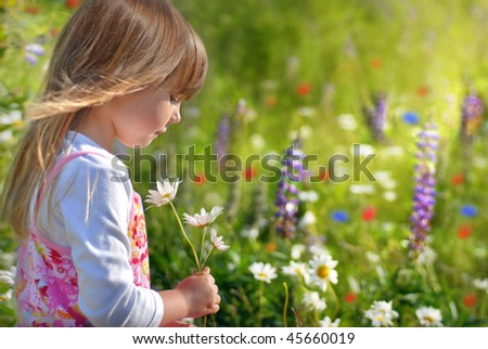Little girl in flower field - stock photo