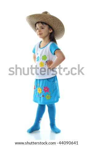 Little girl in hat isolated on white background