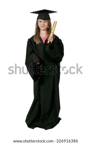 Little girl in her graduation robes