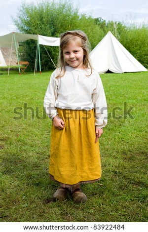 little girl in historic garment