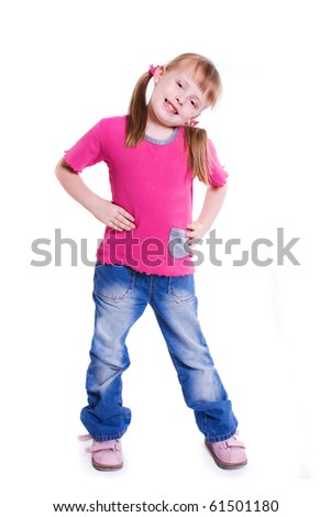 Little girl in jeans on white background - stock photo